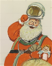 study for space age santa by norman rockwell