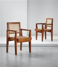 pair of 'take down' armchairs, model no. pj-si-20-a, designed for private residences, chandigarh by pierre jeanneret