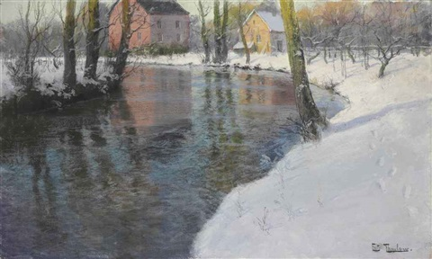 winter landscape by frits thaulow