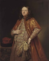 portrait of a gentleman, three-quarter-length, in a zupan by abraham lambertsz jacobsz van den tempel