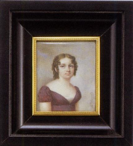 portrait de jeune fille en robe de soie prune coiffée danglaises et ve sur fond de ciel nuageux by charles antoine claude berny douville