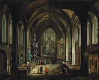 interior of a gothic church with a friar preaching from the pulpit, elegant figures conversing in the foreground by hendrick van steenwyck the younger