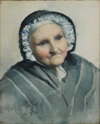 portrait of an elderly lady in black bonnet and shawl by thomas cooper gotch