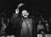 emmett kelly, 1955; at sammy's at the bowery, 1944 (2 works) by weegee