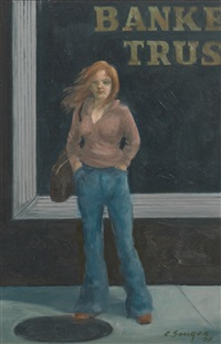 kid in front of a bank by clyde singer