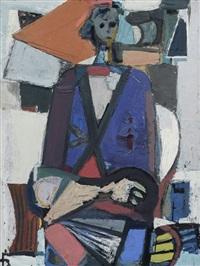 sitzende figur im raum by joachim heuer