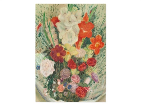 colourful flower bouquet by frederick carl frieseke