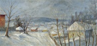 village in a snow-covered landscape by géza kádár