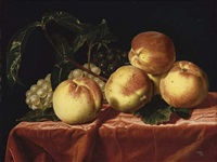 peaches and grapes on a draped table by paul liegeois