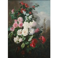still life of roses and blossoms in a garden by alexis kreyder