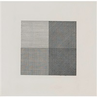 lines in four directions, super imposed in each quarter of the square progressively (black) (krakow.13) by sol lewitt