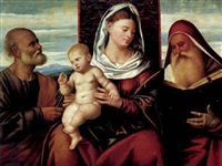 sacra conversazione, madonna con bambino e i santi pietro e gerolamo by bernardino licinio