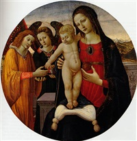 the madonna and child with attendant angels, an extensive landscape beyond by jacopo del sellaio