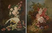 fruktstilleben (+ blomsterstilleben; pair) by lucien joulin