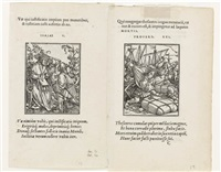 two double-sided woodcuts from the dance of death by hans holbein the younger