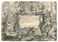 two designs for frontispieces with classical themes (2 works) by gilles-marie oppenort