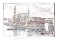 dresden, ansicht der catholischen kirche von neustadt (aus gesehen) by carl gottfried nestler