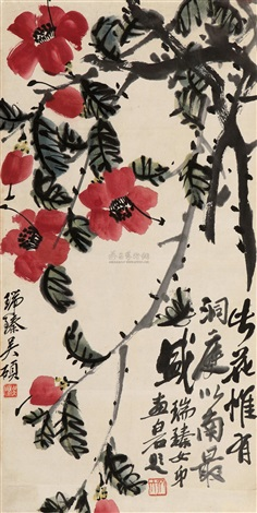 山茶盛放 flowers by wu ruizhen and qi baishi