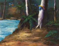 parrots near a stream by albert lee tucker