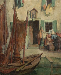 figures in a european canal scene by mischa askenazy
