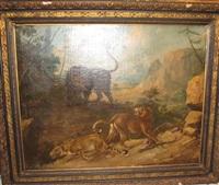 lion et deux léopards by carl borromaus andreas ruthart