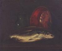 nature morte à la bassine de cuivre, broc de terre et poisson by juliette felix