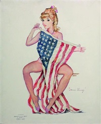 pin-up au drapeau américain by bernard charoy