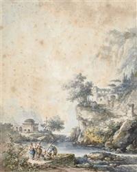 torrent dans une vallée, des pêcheurs au premier plan by claude louis châtelet