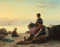 fisherman's family on the beach at sunset by anton laurids johannes dorph
