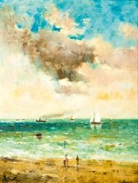 vue d'un bord de mer animée d'une élégante et d'un passant by alfred stevens