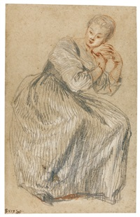 a seated lady by jean antoine watteau
