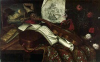a viola, a lute, a recorder, music sheets and other objects on a table by antonio cioci