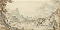 felsige flußlandschaft mit festung auf einer anhöhe (+ pencil sketch, verso) by paul bril