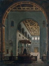 vue présumée de l'ntérieur de l'eglise saint-paul-hors-les-murs à rome by louis jaques mandé daguerre