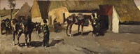 paarden: the yellow riders near a farmhouse by george hendrik breitner