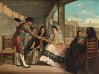 a matador presenting a gift (+ matadors flirting with a young lady; pair) by carlos wade