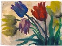 tulpen (rot., blau, violett und gelb) by emil nolde