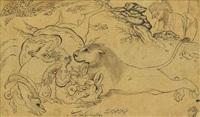 an animal combat scene by reza-i abbasi