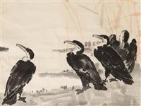 black cormorants by xu beihong