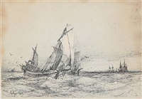seascapes with sailing ships (3 works, various sizes) by daniel hermann anton melbye