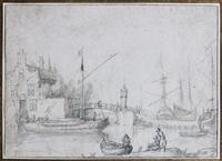 vue d'un port by cornelis claesz van wieringen