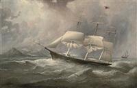 the black ball clipper ocean chief on her australian run with the crew aloft reefing-down the sails by duncan mcfarlane