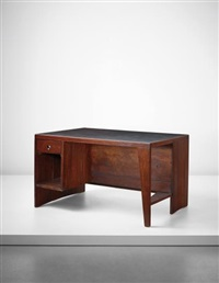 office table' desk with bookcase, model no. pj-bu-02-a, designed for the secretariat and administrative buildings, chandigarh by pierre jeanneret
