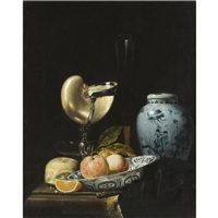 still life with peaches and an orange in a porcelain wan-li kraak bowl, a chinese ovoid shaped porcelain jar, and a silver-gilt nautilus cup, together with a fluit and another glass by juriaen van streeck