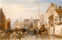 a canal in a continental town by samuel austin