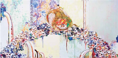a picture of the blessed lion who stare at death by takashi murakami