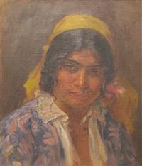 gipsy portrait by <b>pierre bellet</b> - pierre-bellet-gipsy-portrait