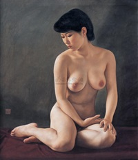 sitting nude by xue yanqun