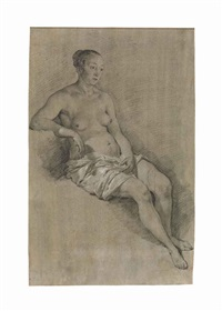 a seated female nude by adriaen van de velde