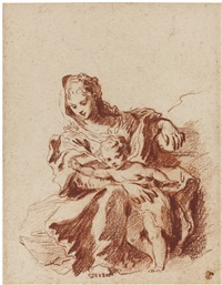 the virgin and child (after schedoni) by jean antoine watteau